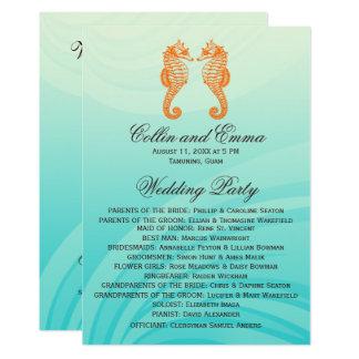 Orange & Blue Seahorse Wedding Programs