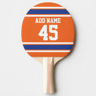Orange Blue Sports Jersey with Name and Number Ping Pong Paddle