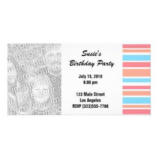 Orange Blue Striped Party Invites Customized Photo Card