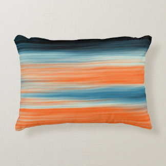 Orange Blue Striped Pattern Decorative Pillow