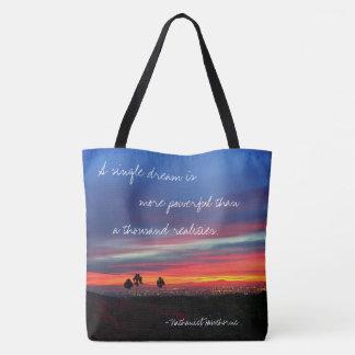 """Orange & blue sunrise """"dream"""" quote photo tote bag"""