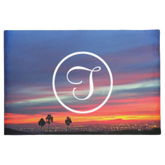 Orange blue sunrise photo custom monogram doormat