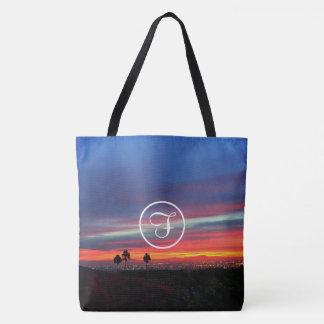 Orange blue sunrise photo custom monogram tote bag