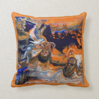 Orange, blue, white pillow