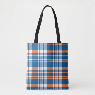Orange blue white Plaid background Tote Bag