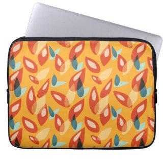 Orange Blue Yellow Abstract Autumn Leaves Pattern Laptop Sleeve