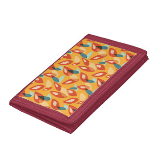 Orange Blue Yellow Abstract Autumn Leaves Pattern Tri-fold Wallet