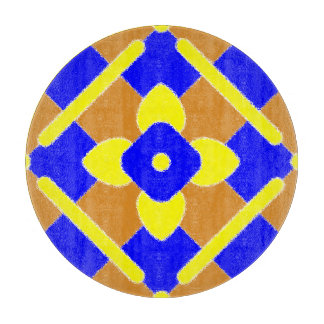Orange Blue Yellow Spanish Tile Pattern Cutting Board