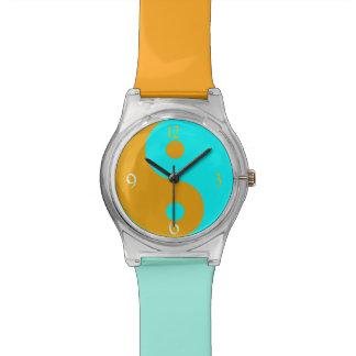 Orange Blue Yin Yang Symbol Wrist Watches