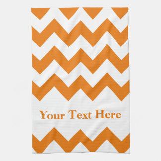 Orange Bold Chevron with customizable text Kitchen Towel