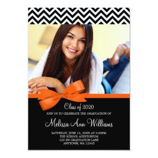 Orange Bow Chevron Photo Graduation Announcement