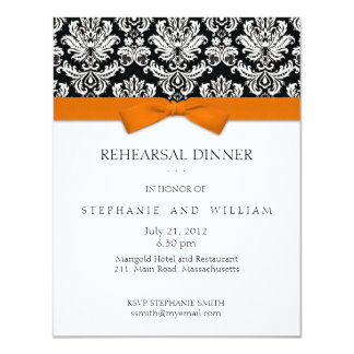 Orange Bow Damask Rehearsal Dinner Invitation