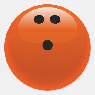 Orange Bowling Ball Classic Round Sticker