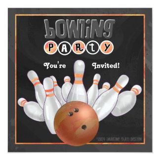Orange Bowling Party Invitation