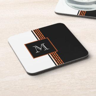 Orange Bricks on Black and White Monogram Coaster