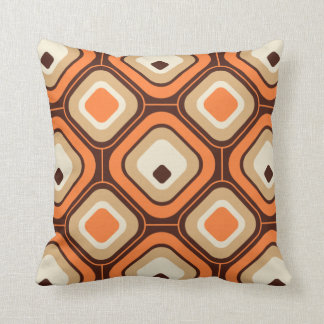 Orange, brown and beige squares throw pillow