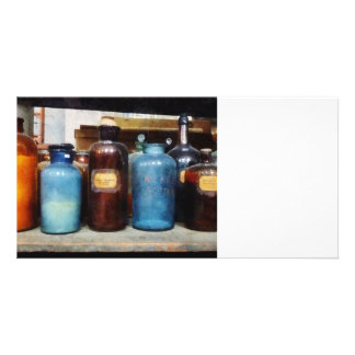 Orange, Brown and Blue Bottles of Chemicals Customized Photo Card