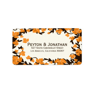 Orange Brown Autumn Leaves Address Labels