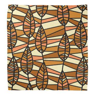 Orange Brown Autumn Leaves Pattern Bandana