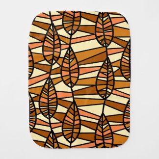 Orange Brown Autumn Leaves Pattern Burp Cloth