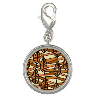 Orange Brown Autumn Leaves Pattern Charm