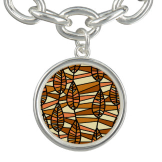 Orange Brown Autumn Leaves Pattern Charm Bracelet