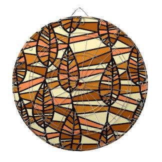 Orange Brown Autumn Leaves Pattern Dartboard