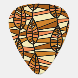 Orange Brown Autumn Leaves Pattern Guitar Pick