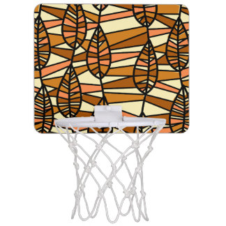 Orange Brown Autumn Leaves Pattern Mini Basketball Hoop
