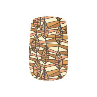 Orange Brown Autumn Leaves Pattern Minx Nail Art
