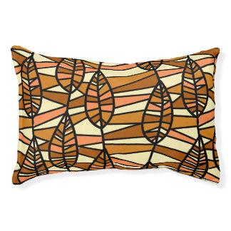 Orange Brown Autumn Leaves Pattern Pet Bed