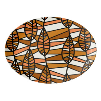 Orange Brown Autumn Leaves Pattern Porcelain Serving Platter