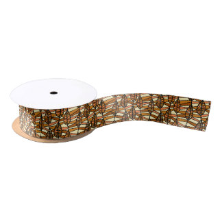 Orange Brown Autumn Leaves Pattern Satin Ribbon
