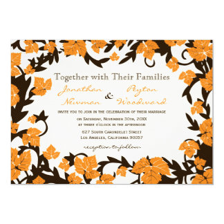 Orange Brown Autumn Leaves Wedding Invitations