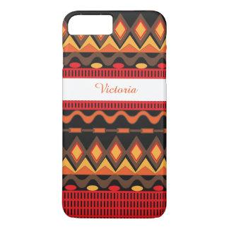 Orange Brown Aztec Tribal Pattern Personalized iPhone 7 Plus Case