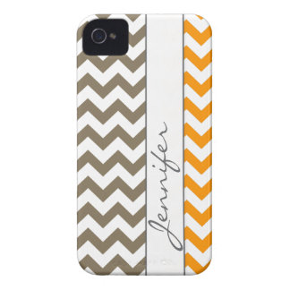Orange & Brown Chevron Name iPhone 4/4s Case-Mate iPhone 4 Cases
