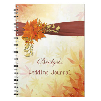 Orange brown fall leaves Wedding Planner Notebook
