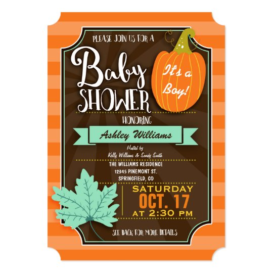 Orange & Brown Fall or Halloween Baby Shower Card
