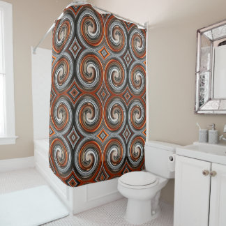 Orange Brown Gray Abstract Swirl Pattern