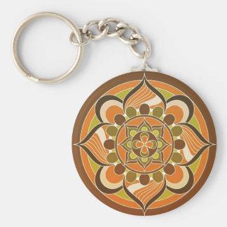 Orange Brown Green Swirl Design Key Chain