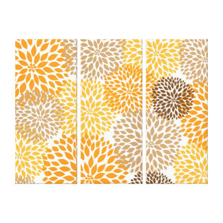 Orange Brown modern dahlia blossoms wall art