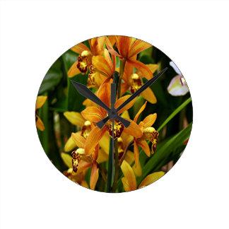 Orange brown orchid flowers in bloom wallclock