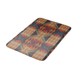 Orange Brown Red Teal Blue Eclectic Ethnic Art Bath Mat