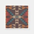 Orange Brown Red Teal Blue Eclectic Ethnic Art Paper Napkin