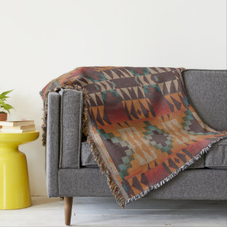 Orange Brown Red Teal Blue Eclectic Ethnic Art Throw Blanket