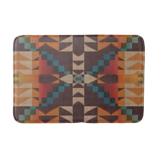 Orange Brown Red Teal Blue Eclectic Ethnic Look Bath Mat