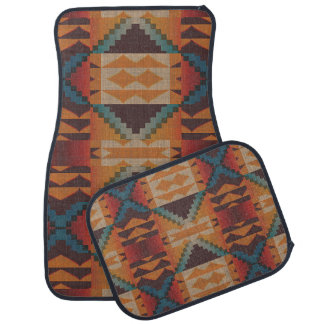 Orange Brown Red Teal Blue Eclectic Ethnic Look Car Mat