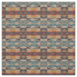 Orange Brown Red Teal Blue Eclectic Ethnic Look Fabric