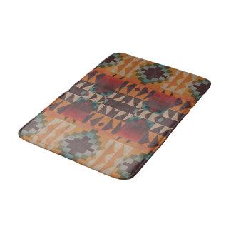 Orange Brown Red Teal Blue Tribal Mosaic Art Bath Mat