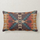 Orange Brown Red Teal Blue Tribal Mosaic Art Lumbar Pillow